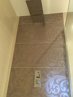 Beautiful feature porcelain tiles from Italy in the master en-suite