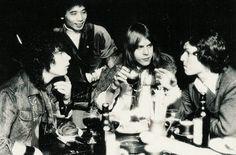 """1976 - Michael Shrieve, Stomu Yamashta, Klaus Schulze, Steve Winwood. Publicity photo shoot for Stomu Yamashata's project, """"Go."""""""