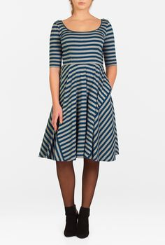 Stripe cotton knit fashions our flattering fit-and-flare dress  styled with a princess seamed bodice and a pieced full skirt.