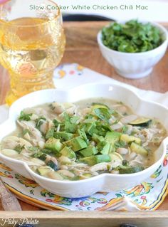 Slow Cooker White Chicken Chili Mac, no fuss dinner, great for weekends!