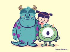 Lil BFFs: Sully, Mike and Boo disney character design pixar monsters inc Disney Kunst, Arte Disney, Disney Fan Art, Disney Love, Cartoon Wallpaper, Cute Disney Wallpaper, Kawaii Disney, Cute Disney Drawings, Cute Drawings