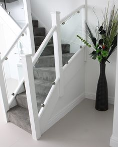 glass staircase with prefinished white posts and rails – Home Renovation Interior Stair Railing, White Staircase, House Staircase, Wood Staircase, Staircase Railings, Staircase Design, Glass Stair Railing, Staircase Glass, Banister Ideas