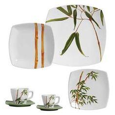 Aparelho de jantar bambu, uma graça para a casa nova, não é? China Painting, Ceramic Painting, Plate Design, Pottery Designs, Dinner Sets, Tea Set, Dinnerware, Decoration, Tablewares