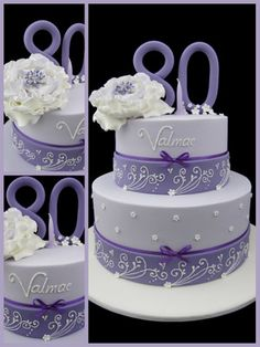 Lilac cake with ribbon fondant and small flowers