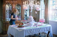 classic pink and green baby shower food table