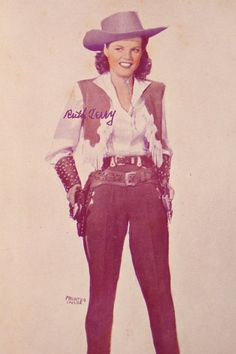 A 1943 vintage Ruth Terry promotional film print for Pistol Packin Mama. The original print feature Ruth Terry in a color tined black and white image..