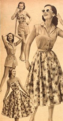 Coordinated mini wardrobe from the 50s - basically the playsuits we're familiar with, plus a removable-strap bustier.