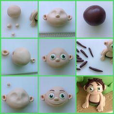 Spot's hair is made from brown fondant, and his face is drawn with edible food colouring pens The Good Dinosaur Cake, Dino Cake, Cake Topper Tutorial, Fondant Tutorial, Arlo Und Spot, Dinosaur Birthday Cakes, Fondant Animals, Yogurt Cake, Edible Food