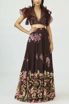 Shop Neeta Lulla Embroidered Draped Anarkali , Exclusive Indian Designer Latest Collections Available at Aza Fashions Anarkali, Lehenga, Ruffle Sleeve, Ruffle Blouse, Embellished Belt, Neeta Lulla, India Usa, Floral Prints, Neckline