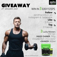 Giveaway December 2020 Win in 3 easy steps.  1) Follow zenithsports.in on Instagram & Facebook. 2) Like 5 Posts. 3) Tag 3 friends.  3 Lucky winners will get Mass Gainer 750g (Doubel Rich Chocolate), Shaker 500ml.  Winners will be announced on 2nd January 2021. Facebook 2, Facebook Likes, Mass Gainer, High Calorie Meals, 3 Friends, Sports Nutrition, Healthy Weight, Weight Gain, Giveaway