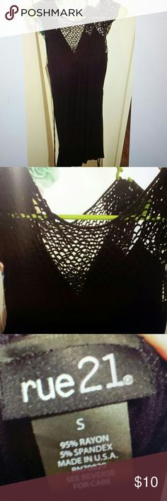 Rue21 Black Crochet Back Dress Beautiful dress with a crocheted back. Material is light and flowy. Perfect for spring. Worn once. In great condition! Rue 21 Dresses Mini