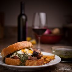 a taste of argentina. gaucho steak sandwich and a glass of wine.