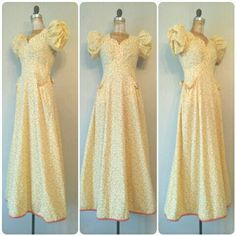 Gorgeous 1940s Yellow Puffy Sleeve GownStrawberry by RackedVintage