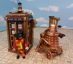 Emma J, a member of the Playmobil Collectors Club, made these delightfully steampunk versions of a Dalek and the Doctor's TARDIS. Steampunk is a fun style, but it must aggravate Daleks, as they are once again hindered by stairs.