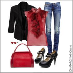 CHATA'S DAILY TIP: A pretty red top looks fabulous under a tailored black jacket and smart blue jeans. Perfect for Casual Friday at the office or a night out on the town over the weekend. Add a red bag for a pop of colour. #casualfriday  COPY CREDIT: Chata Romano http://chataromano.com/consultant/chata-romano/ IMAGE CREDIT: What to wear today Facebook page.