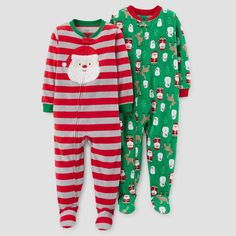 Baby Boys' 2pk Fleece Santa Stripes Footed Pajama Set - Just One You Made by Carter's Red 12M, Size: 12 M