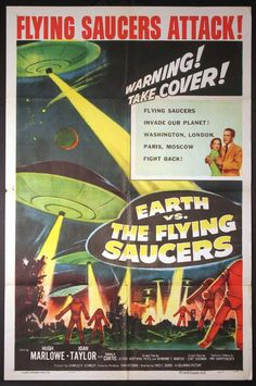 all sci fi movies | EARTH VS. THE FLYING SAUCERS Movie Poster (1956) || SCI-FI Movie ...