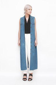 Vintage 90s Denim Dress, Vintage 90s Silk Blouse, Vintage 80s Cotton Trousers