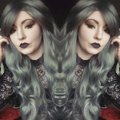 Another one from today  #lushwigs #lushwigsstormcloud #lushwigsme #darklipstick #lipstick #wig #wigaddict #greyhair #altmodel #alternativefashion #alternative #wicca by charlottealicecollier