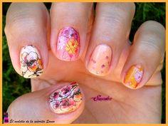 El maletin de la señorita Sonso: Manicura naranja y rosa Water Decals flores Milvart N447.