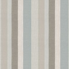 Tan & Aqua Striped Linen Fabric | Shoreline Seaside | Loom Decor