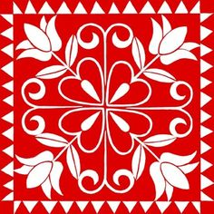 Decoupage, Red And White Quilts, Stenciled Floor, Vintage Tile, Painted Stairs, Mexican Designs, Quilling Patterns, Barn Quilts, Applique Quilts