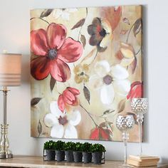 """Give her the final piece to her home decor puzzle this season! The """"Red & White Floral Canvas Art Print"""" includes warm colors that are sure to accent any space's style. Acrylic Painting Lessons, Acrylic Art, Acrylic Painting Canvas, Leaf Wall Art, Canvas Wall Art, Abstract Flowers, Easy Paintings, Pictures To Paint, Art Oil"""