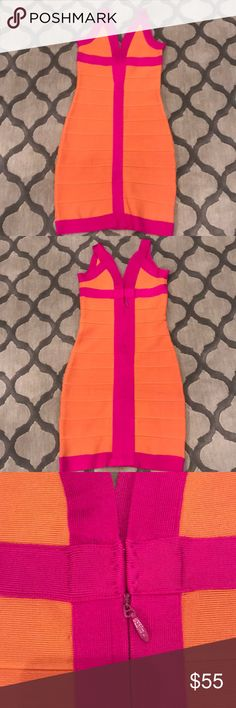 ⚡️SALE  Bandage Dress- Celeb Boutique- size S Sexy Bandage Dress- Celeb Boutique- size S. Hot pink and orange, the perfect combo! Fit like a glove. Excellent thick material with just the right stretch. Had another (black and grey with already sold in my closet). Celeb Boutique Dresses Mini