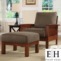 ETHAN HOME Hills Mission-style Oak/ Olive Chair and Ottoman - love the Mission-style furniture, good option for the office loft