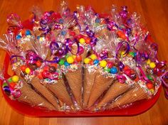 Discover thousands of images about Candy cone party favors. I dipped the rims of sugar cones in white chocolate and sprinkles. Filled them with peanut m & m's and bagged them in cone shaped bags. They were a hit with the kids! Trolls Birthday Party, Troll Party, Unicorn Birthday Parties, Unicorn Party, Birthday Fun, Birthday Ideas, Candy Land Birthday Party Ideas, Candy Themed Party, Pokemon Birthday