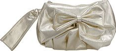 This metallic handbag features a bow, handstrap, and silver chain for clutch and medium wristlet conversion. It is approximately 9.5  x 5.5 . Great for evening wear and special occasions.