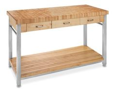 "John Boos End-Grain Butcher Block Workbench, 60"" #williamssonoma, $2295, 60"" long"