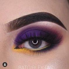 Goth Eye Makeup, Black Smokey Eye Makeup, Bridal Eye Makeup, Eye Makeup Steps, Eye Makeup Brushes, Eye Makeup Art, Purple Makeup Looks, Yellow Makeup, Makeup Eye Looks