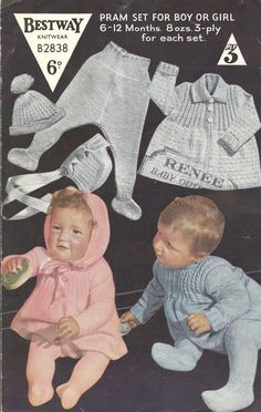 Bestway 2838 baby pram suits    vntage baby knitting pattern    6 - 12 months sizes    3 ply wool