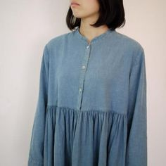 本灰汁建て正藍染め+エシカルヘンプスタンドカラードレス 縹色   タイ工藝ムラカ