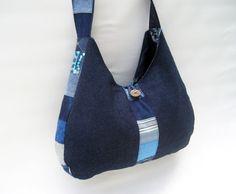 Denim bag blue denim purse Quilted jeans purse by DutchDaisyDesign