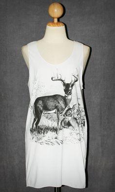 Deer White Tank Top Sleeveless Singlet Tunic Indie Graphic Women Animal T-Shirt Size M