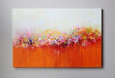 abstrait rouge orange peinture modean acrylique par artbyoak1