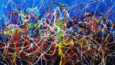 """Buy """"Mind-Blowing"""" Large Dripping pouring pollock style painting., a Acrylic on Canvas by Caroline Vis Dutch Dripping  Artist from Netherlands. It portrays: Abstract, relevant to: blue, Pollock, modern painting, full color, Caroline Vis, art painting, large XL painting, dripping pouring, mind blowing Mind-Blowing     Large Abstract Expressionism Art   """"Hallucinating"""" is what comes first in mind, the name given to this creation was therefore """"Mind blowing"""". This l..."""