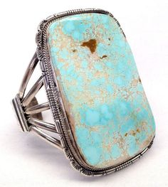 Huge turquoise and silver cuff bracelet by Kathy Yazzie
