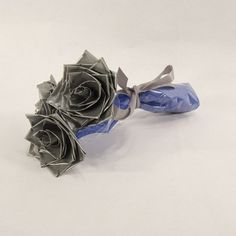 Flowers for Him - Silver Roses - Gift for Him - Duct Tape Roses - Unique Gift Idea
