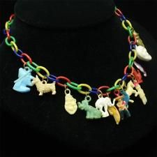 Gumball Charms Necklace Vintage Celluloid Plastic Multi-Colors