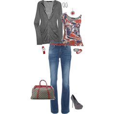 Marc Jacobs cardigan and McQ print tank. Gucci purse don't even guess the price