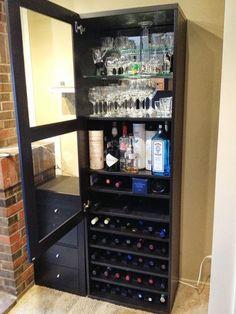 IKEA Hackers: Besta Wine Rack and Liquor Cabinet For my basement bar Liquor Cabinet Ikea, Drinks Cabinet, Glass Cabinet Doors, Glass Shelves, Glass Door, Bar Interior, Interior Door, Wine Glass Rack, Wine Rack