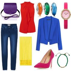 I Can Wear A Rainbow Too outfit from ClothingByColour.com. Topshop canary yellow super-soft scarf, Pandora orange faceted murano charm, Pandora chinese blue faceted murano charm, Zatchels royal purple classic saddle bag, Dorothy Perkins hot pink head over heels audrine pointed dressy court shoes, Oasis hot pink patent strap watch, Pandora emerald faceted murano charm, Oasis poppy high neck frill shell, Mango bright navy skinny elektra jean, Mango cobalt blue jacket, Jaeger emerald bracelet