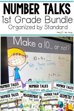 This bundle of DIGITAL first grade number talks makes it super easy to grab math talk activities that align with the Common Core standard you are teaching. They will help your students soar as mathematical thinkers! Grab your set today! First Grade Lessons, Teaching First Grade, First Grade Math, Math Lessons, Math Fact Practice, Math Talk, Daily 5 Math, Math Fact Fluency, Number Talks