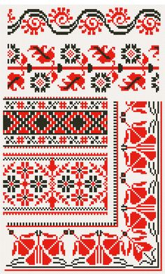 Hungarian Embroidery Stitch Cross Stitch - Black, Red and White - ispiration Palestinian Embroidery, Hungarian Embroidery, Diy Embroidery, Cross Stitch Embroidery, Embroidery Patterns, Cross Stitch Borders, Cross Stitch Art, Cross Stitching, Cross Stitch Patterns