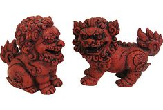 Red Foo Dogs, Pair on OneKingsLane.com