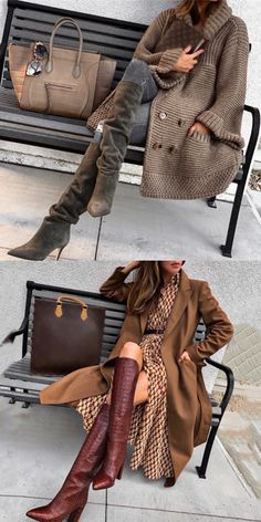 denim and brown outfit idea fall fashion « voguee. Winter Fashion Outfits, Casual Winter Outfits, Classy Outfits, Chic Outfits, Autumn Winter Fashion, Fall Outfits, Fall Fashion, Mode Ab 50, Coats For Women