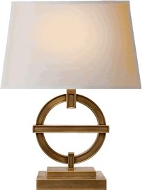 "Limited Production Design: 18"" Tall Classic Symbol Lamp * Antique Brass * Various Finishes Available * Partner Wall Lights Available * Hotel Contract Orders Welcome"
